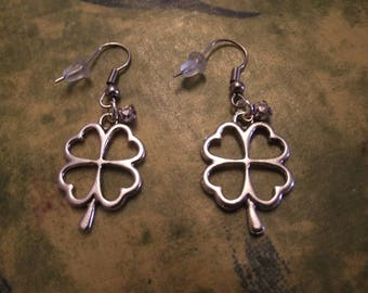 Silver earrings - the four leaf clover