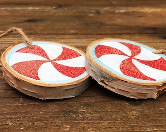 Hand-painted peppermint wood slice ornament, peppermint tree ornament, peppermint christmas decor, peppermint wood slice ornament