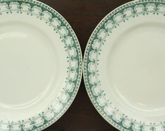2 vintage ironstone plates – French plates – St Amand – green – teal – bow pattern – 1930s – art deco – shabby chic – French kitchen