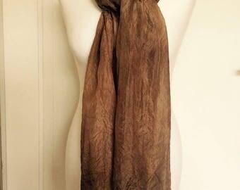 A dyed Ponge silk scarf. Handpainted Silk Scarf.