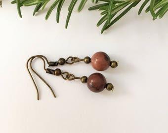 dark brown earrings,bronze drop earrings,brown gemstones,coffee bean jasper,rich brown earrings,everyday earrings,dark brown jewelry,