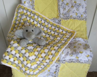 Crocheted elephant lovey and elephant rag quilt set