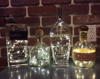 Upcycled Liquor Tequila Handmade LED String Lights Bottle Lamp, Cork Light,Angels Envy,Blantons,Patron,Corzo Tequila, Gift for Him or Her