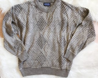 Vintage Oversized Knit Pull Over Sweater 90s Size Medium