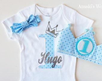 First birthday set child, Crown birthday, Crown birthday fabric, body baby birthday, baby bow tie, birthday decoration