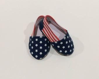 18 Inch Doll Clothes Patriotic Canvas Shoes With Red and White Stripes and Blue With White Stars Fits Like American Girl Doll Clothes