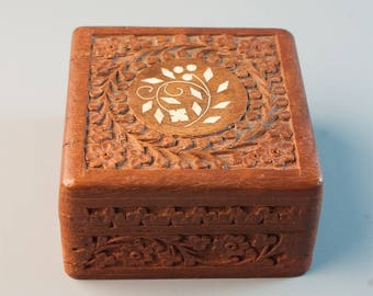 Vintage Wooden Jewellery Hand Carved square box