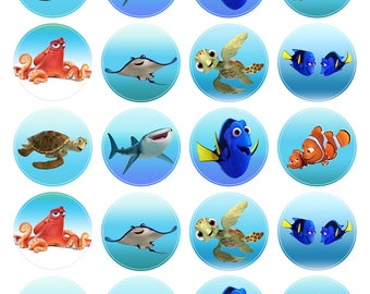 Finding DORY Movie Inspired Cupcake Toppers. Cupcake Edible Icing Print. 20 Cupcake Decorations