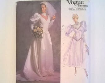 "Vogue Bridal Gown or Bridesmaid Dress Pattern 2178 - Petticoat Pattern Included - Size 12 - Bust 34"" - Vintage 1988 Uncut Sewing Pattern"