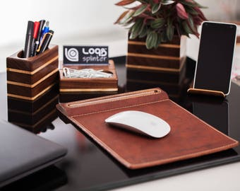 Full Office Package, Wood paper clip holder for desk, Wood pen holder, Business card stand, Universal smartphone stand