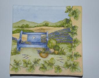 16 PAPER NAPKINS BLUE FOR DECORATION PURPOSE BENCH