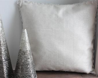 Ivory, Shiny Silver, Crystal Bead Fringe, Christmas Pillow Cover, Glam Pillow, Silver Christmas Decor, Holiday Throw Pillow