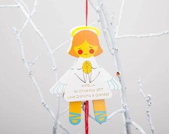 Personalised Angel Jumping Jack Hanging Decoration