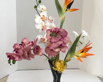 Silk Floral Arrangement with White and Purple Silk Orchids, Yellow Dragon Flowers in a Vintage Black Vase