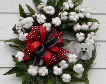 UGA Wreath, Georgia Bulldogs Wreath, Football Wreath, Cotton Wreath, UGA Decor, Fall Wreath, Red & Black Wreath, Go Dawgs, UGA Cotton Wreath