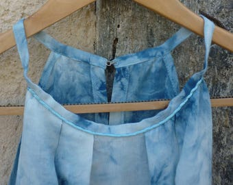 top blue tie & dye sleeveless