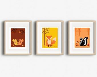 Home Decor Art Print - Woodland Nursery - Set of 3 Prints - Wall Art - Woodland Animals - Animal Art - Printable Wall Art
