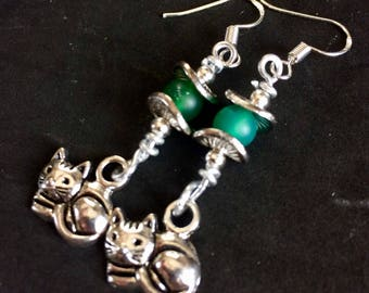 Cat Charm Earrings with Green Aventurine Stone Bead