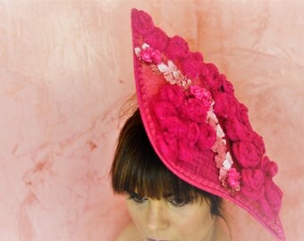 Pamela for wedding guest in pink with Swiss dot with appliqué flowers