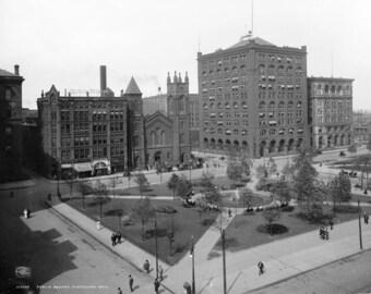 """1908 Public Square, Cleveland, Ohio Vintage Photograph 8.5"""" x 11"""" Reprint"""