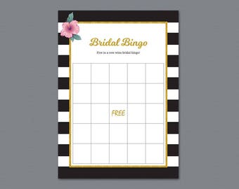 Kate Spade Bridal Bingo Game Cards, Gold Bachelorette Party, Bridal Shower Games, Black White Stripes, PDF Download, Wedding Bingo, A014