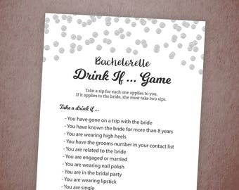 Bachelorette Drink If Game, Silver Confetti Drinking Game, Bachelorette Games, Bridal Shower, Wedding, Hen Party Game, Take a Sip, A003