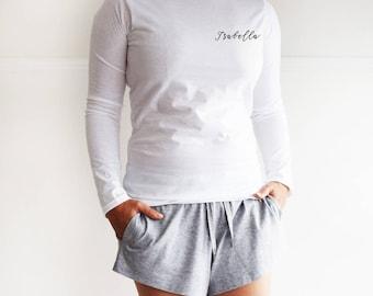 Personalised Name Loungewear Pyjama Shorts Gift Set, PJ Set