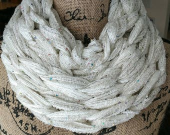 READY TO SHIP/Ivory Sparkly Cowl/Christmas Scarf/Cowl/Arm Knit Cowl/Infinity Scarf/Circle Scarf/White Scarf/White Cowl