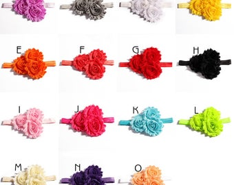 15colors Fashion Triple Chic Shabby Chiffon Flower Hair Accessories Handmade 3D Fabric Flower Headbands For Baby Girls