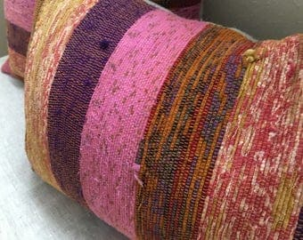 Turkish-style Mexican Multi-Colored Pink Kilim Pillow Cases