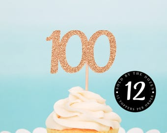 100th Birthday Cupcake Toppers 100 Gold Glitter 100th Day 100th Party 100 Days of School 100th Day of School 100th Decor 100 School Days