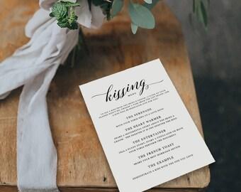 Printable Kissing Menu Template, Printable Wedding Games, Wedding Kissing Menu, Wedding Table Games, Kissing Menu Printable - KPC04_408