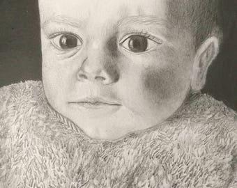 Custom portrait, hiperrealistic, realistic handmade, pencil drawing, wedding gift, baby shower, first birthday, gif