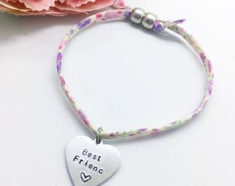 Personalised childrens 'Best Friend' Liberty bracelet   Gifts for girls   Gifts for friends   Best friends   Childs bracelet