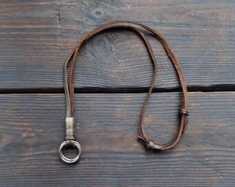 Men leather necklace, Retro pendent necklace