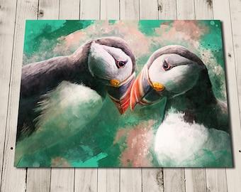 Puffin Art - Puffin Gifts - Puffin Painting Print - Puffin Print - Two Puffins Print - Cute Puffins - Cute Wall Art - Puffin Bird Art Print