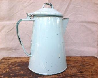 Vintage Light Blue Speckled Enamelware Coffee Pot