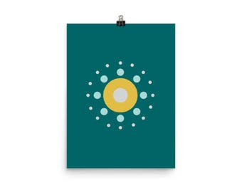 "Teal Wall Print 12"" x 16"", Teal and Yellow Wall Art, Yellow and Teal Wall Decor, Geometric Art Print, Modern Minimalist Decor, Swedish Art"