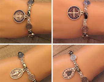 St Benedict Bracelet, Miraculous Medal Bracelet, San Benito, Catholic Gifts, Spiritual Gifts, Birthday, Hematite Jewelry, Gifts Under 25