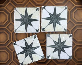 Northern Star Tile Coasters- stone coasters,  set of 4