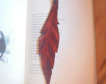 Bookmarks made of leather, natural black brown red feather