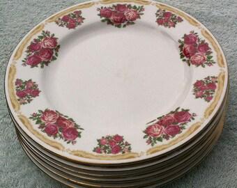 "Farberware Sydney Roses 4092 8 1/8"" salad plates"