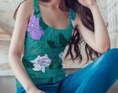 Canottiera donna spalline larghe - Top donna con fiori - Abbigliamento donna estate