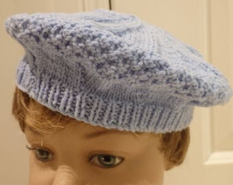 Blue Knitted Beret