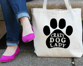 Crazy Dog Lady Canvas Tote Bag