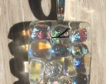 Dichroic Fused Glass Pendant - Clear Dichroic Mosaic Pendant