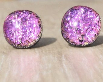 Dichroic Fused Glass Stud Earrings - Pink Crinkle Dichroic Studs with Solid Sterling Silver Posts