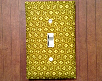Fabric Covered Light Switch Plate - Green Flowers