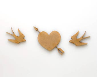 Love Swallows  - 3 Wooden pieces to decorate or make any type of crafts.