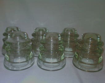 Armstrong No 4756  Clear Glass Insulators Set of 6